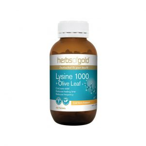 Lysine 1000 + Olive Leaf - Cold Sore Relief - Cardiovascular Health by Herbs of Gold