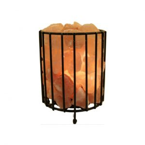 HIMALAYAN SALT LAMP CYLINDER SHAPE FIRE BOWL CAGE - NATURE'S NATURAL IONIZER